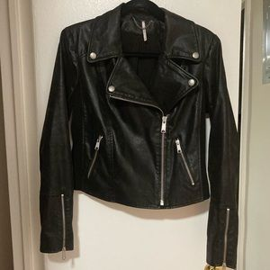 Free People Vegan Leather Moto Jacket
